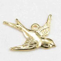 Right Facing Gold Plate 17x15MM Swallow Bird