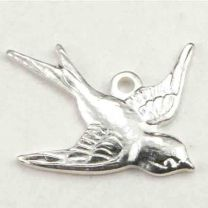 Right Facing Silver Plate 17x15MM Swallow Bird