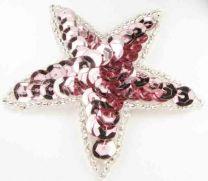 Rose Sequin Star Motif 65mm