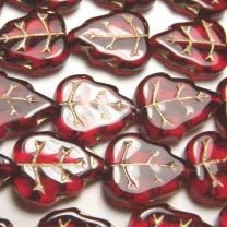 Ruby 12x10MM Veined Leaf With Gold Detail