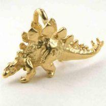 Satin Gold Plate 11x24MM Stegosaurus Dinosaur