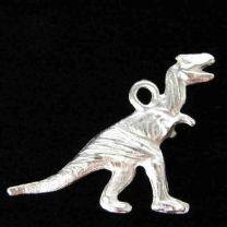 Satin Silver Plate 26x19MM Tyrannosaurus Rex Dinosaur
