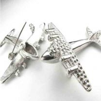 Silver 2 inch Airplane Pin With Rhinestone Settings