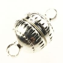 Silver Plate 14x8MM Magnetic Ball Clasp