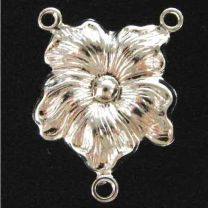 Silver Plate 19x14MM 2 to 1 Pansy Flower Chandelier Connector