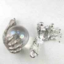 Silver Plate 24x17MM Cupped Wizard Hand