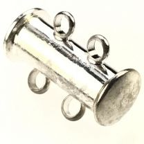 Silver Plate 2 Strand Magnetic Tube Slide Clasp
