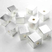 Silver Plate 6MM Cube Bead