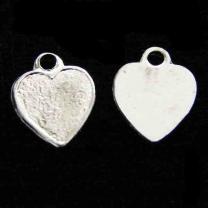 Silver Plate 8MM Heart Textured
