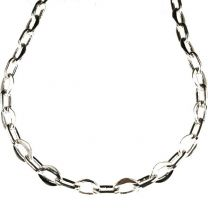 Silver Plate 8x6MM Flat Oval by 8x4MM Round Oval Cable Chain