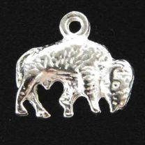 Silver Plate 9x15MM Bison Charm