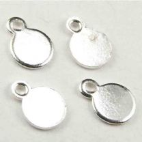 Silver Plate Thin 5MM Round Coin Pendant Drop