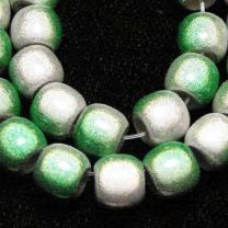 Silver with Green 2 Tone 7x8MM Miracle Crow Bead