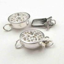 Sterling Silver 9MM Round Filigree Box Clasp