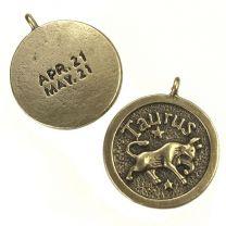 Taurus 24MM Antique Brass Plate Coin Pendant