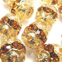 Topaz With Gold 12MM Rhinestone Filigree Ball