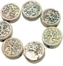Tree of Life Peruvian Ceramic 13MM Coin Bead