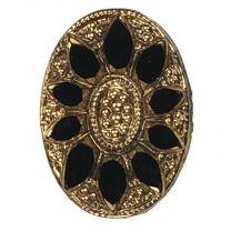 Vintage 14x10MM Gold With Black Intaglio Stone