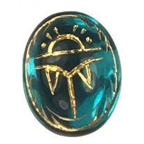 Vintage Blue Zircon Scarab 10X8MM Gold Detail Foiled Back