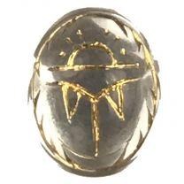 Vintage Crystal Scarab 10X8MM Gold Detail Foiled Back