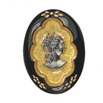 Vintage LEFT facing 18x13MM Hematite Cameo On Gold With Jet