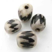 White 11MM Bone Oval With Dyed Brown Chevrons