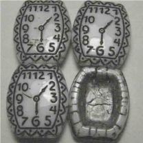 White With Black Clock Face 20x16MM Two Hole Vintage Spacer Bead