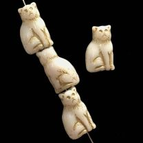 White With Gold Detail 15x9MM  Sitting Cat
